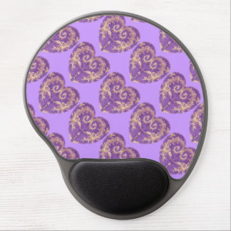 Purple N Gold Brocade Heart Gel Mousepad