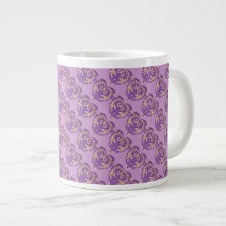 Purple N Gold Brocade Heart Jumbo Mug 20 Oz Large Ceramic Coffee Mug
