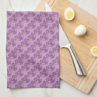 Purple N Gold Brocade Heart Kitchen Towel