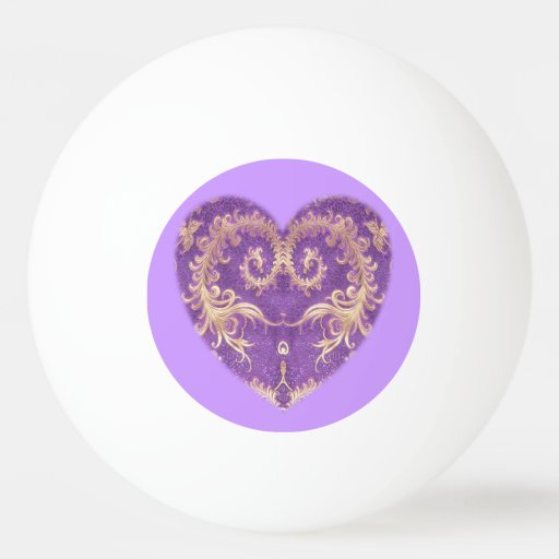 Purple N Gold Brocade Heart Ping Pong Ball