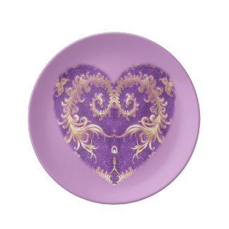 Purple N Gold Brocade Heart Small Porcelain Plate