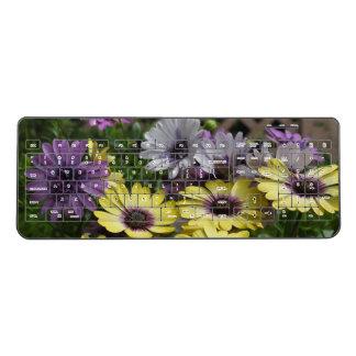 Purple N Yellow African Daisies Wireless Keyboard
