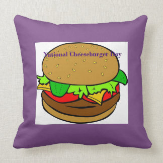 Purple National Cheeseburger Day Pillow