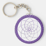 Purple Native American Dream Catcher Basic Round Button Key Ring