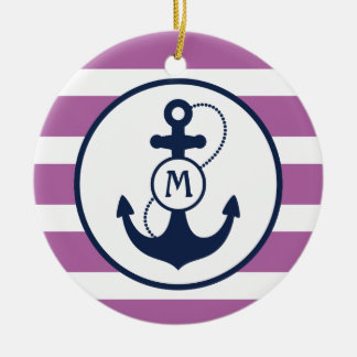 Purple Nautical Anchor Monogram Christmas Ornament