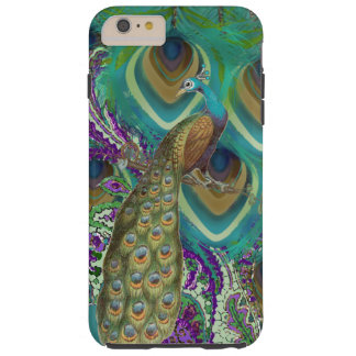 Purple Navy and Copper Paisley Peacock & Feathers Tough iPhone 6 Plus Case
