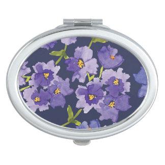 Purple & Navy Blossoms Watercolour Compact Mirror