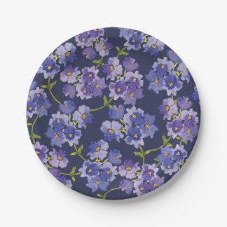 Purple & Navy Blue Floral Pattern Paper Plates