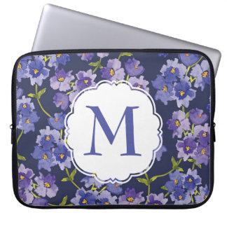 Purple & Navy Floral Personalised Laptop Sleeve