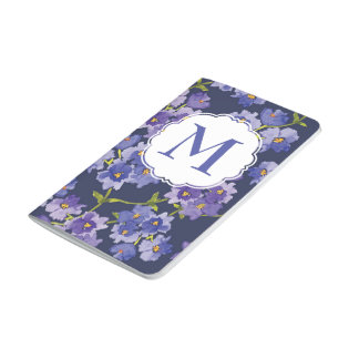 Purple & Navy Personalised Floral Pocket Journal