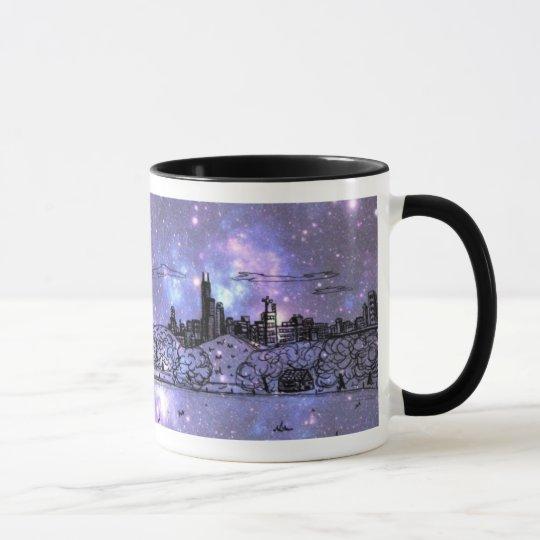 Purple Nebula Comic Style Chicago Mug