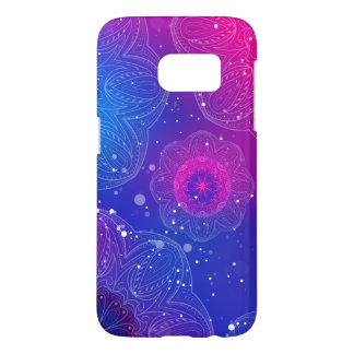 Purple neon mandala pattern
