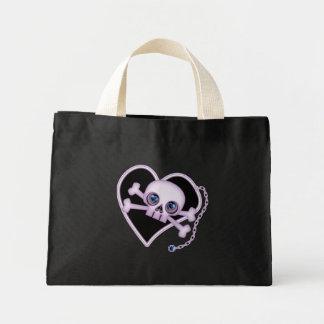 Purple Neon Skull Mini Tote Bag
