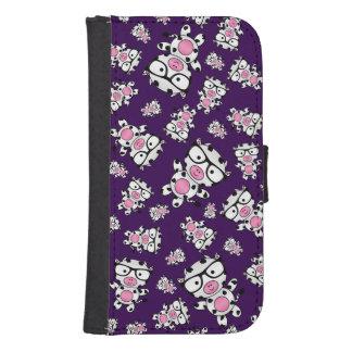 Purple nerd cow pattern samsung s4 wallet case