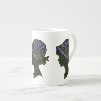 Purple Net Hat Cameo Bone China Mug