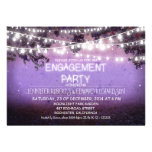 purple night & garden lights engagement party personalised invites