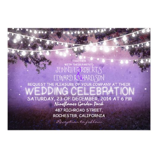 purple night & garden lights rustic wedding personalized announcements