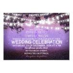 purple night & garden lights rustic wedding personalized announcement