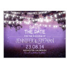 purple night lights romantic save the date postcard
