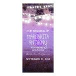 purple night lights wedding program whimsical card rack card design
