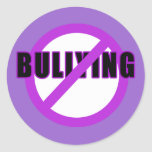 Purple NO BULLYING T-shirts and Buttons Sticker