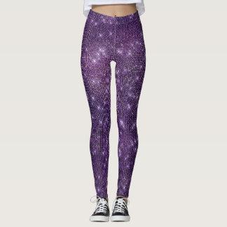 Purple Noir Plum Frozen Sparkly Sequin Black Leggings