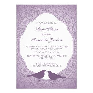Purple Nouveau Floral Frame Bridal Shower Invite