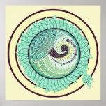 Purple Nouveau Peacock Art Poster
