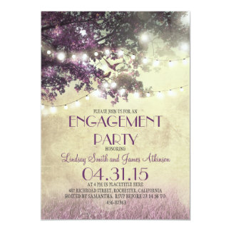 Purple oak tree lights love birds engagement party 13 cm x 18 cm invitation card