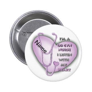 Purple OB Gyn Nurse 6 Cm Round Badge