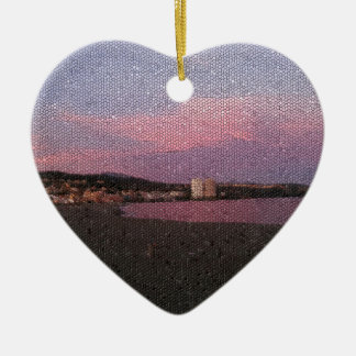 Purple ocean sunset in Costa del sol Spain mosaic. Christmas Ornament