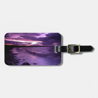 Purple Ocean Sunset Luggage Tag