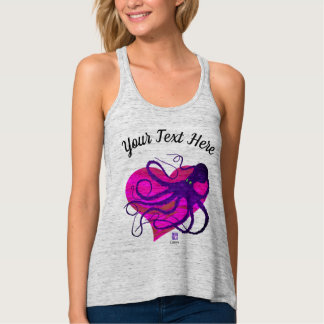 Purple Octo on Two Tone Pink ❤ - Flowy Racer Back Tank Top