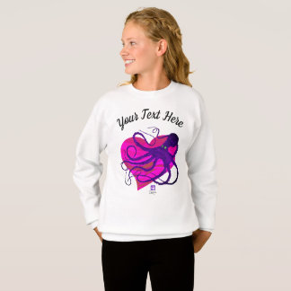 Purple Octo on Two Tone Pink ❤ - Girl's Sweatshirt