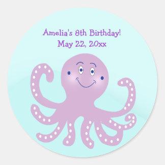 Purple Octopus Birthday Custom Favor Sticker