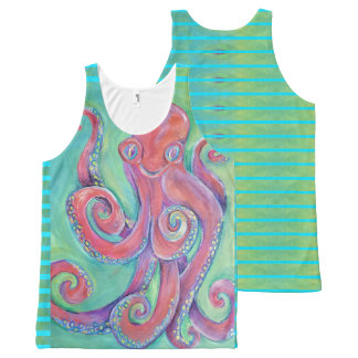 purple octopus on green tank top
