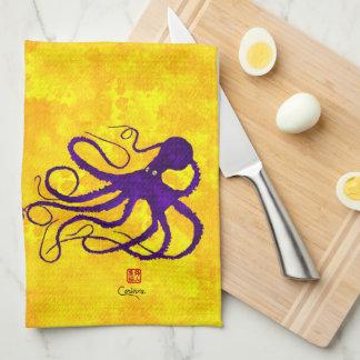 Purple Octopus On Yellow - Kitchen Towel