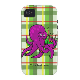 Purple Octopus Playing Green Bagpipes iPhone 4 Cover