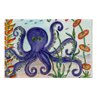 Purple Octopus Poster