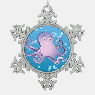 Purple Octopus Snowflake Pewter Christmas Ornament