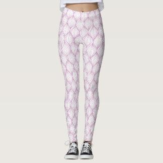 Purple ogee stripes pattern background leggings