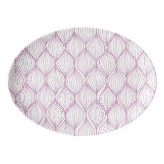 Purple ogee stripes pattern background porcelain serving platter