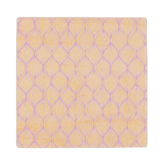 Purple ogee stripes pattern background wood coaster