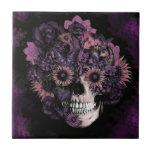 Purple ohm skull with paint splatters.