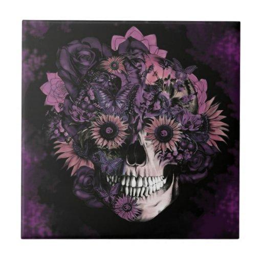 Purple ohm skull with paint splatters. ceramic tile