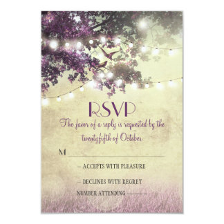 Purple old oak tree lights wedding RSVP cards