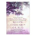 Purple old oak tree & love birds wedding invites
