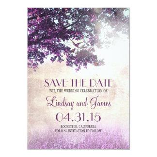 Purple old oak tree romantic save the date cards 11 cm x 16 cm invitation card