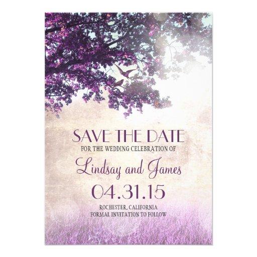 Purple old oak tree romantic save the date cards