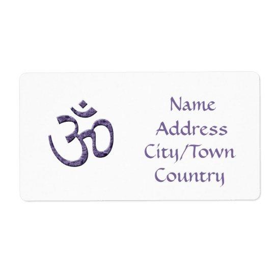 Purple Om Symbol/address label Shipping Label